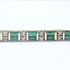 Fine Gem Green Emerald & Diamond Yellow Gold Tenni